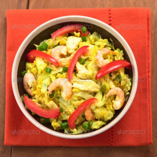 Cabbage, Chicken and Shrimp Dish